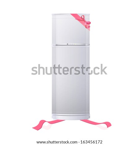 Realistic refrigerator with red ribbons. Vector design  - stock vector