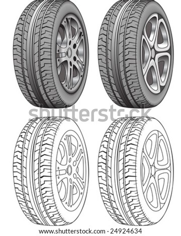 Realistic Rendered tires and tire outlines - vector illustration - stock vector