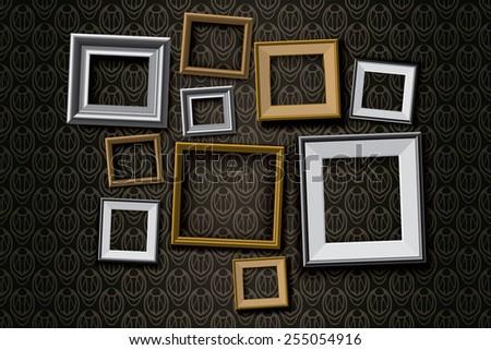 Realistic retro picture frames vector set, illustration background - stock vector