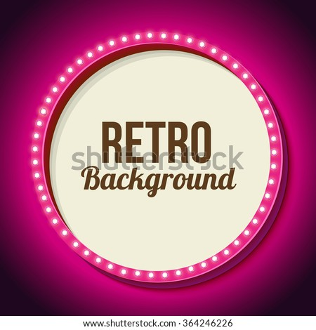 Realistic retro round frame with lights. Pink 3d frame with lights and white background for your text messages, promotions or discounts. Neon light falls on the black wall. Vector illustration - stock vector