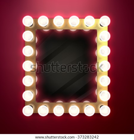 Realistic retro vintage make up mirror with light bulbs vector illustration. Beauty backstage design concept. - stock vector