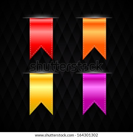 Realistic Ribbon Set, black Background, Vector Illustration - stock vector