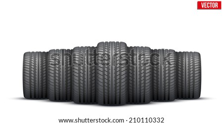 Realistic rubber tires banner. Front view. Vector Illustration isolated on white background. - stock vector