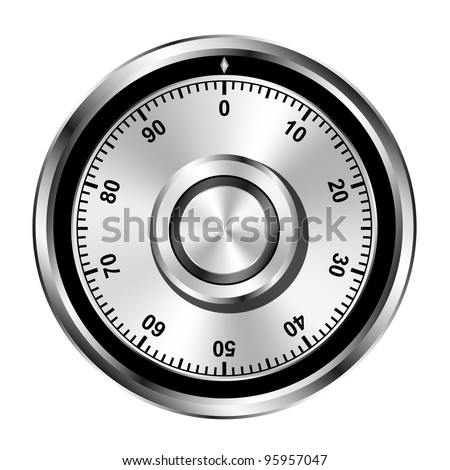 Realistic safe combination lock wheel - stock vector
