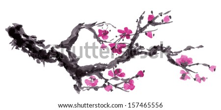 Realistic sakura blossom - Japanese cherry tree isolated on white background. Vectorization watercolor painting. - stock vector