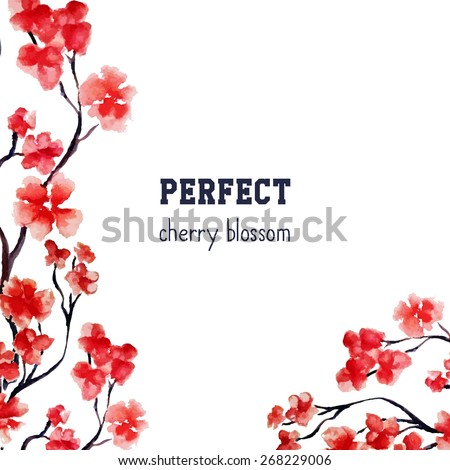 Realistic sakura blossom - Japanese red cherry tree isolated on white background. Vector watercolor painting. Clipping mask. You can move elements. Wedding crad template. - stock vector