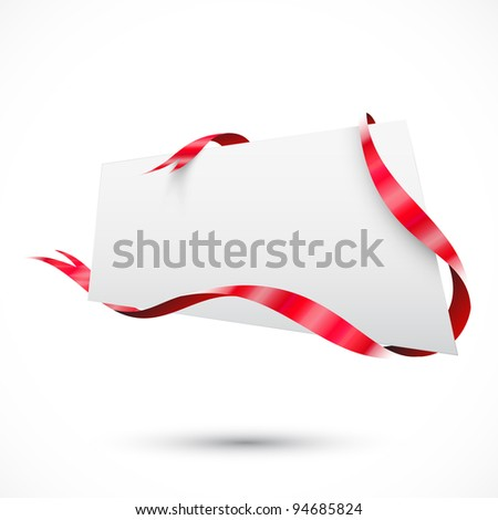 Realistic sale tag. Red ribbon - stock vector