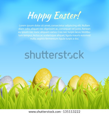 Abstract gold easter egg gift card stock vector 135112751 realistic seamless border with easter eggs in grass gift card template vector illustration negle Choice Image