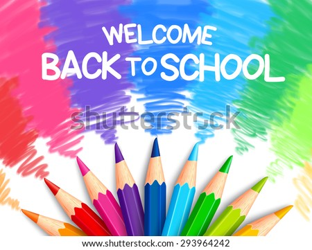 Realistic Set of Colorful Colored Pencils or Crayons with Multicolored Brush Strokes Background in Back to School Title. Vector Illustration - stock vector