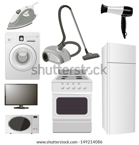 Realistic set of 8 items. Home appliances for the kitchen and bathroom. vector illustration - stock vector