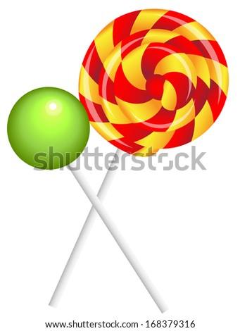 realistic shiny lollipops - stock vector