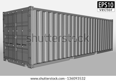 Realistic Shipping Container | EPS10 Vector - stock vector