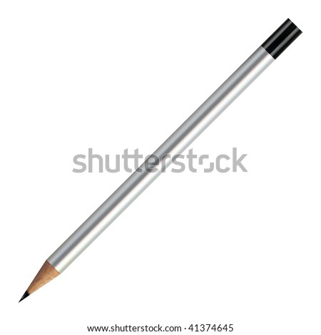 Realistic Silver Vector Pencil - stock vector