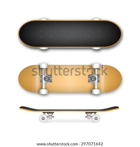 Realistic skateboard isolated on white background in vector format - stock vector