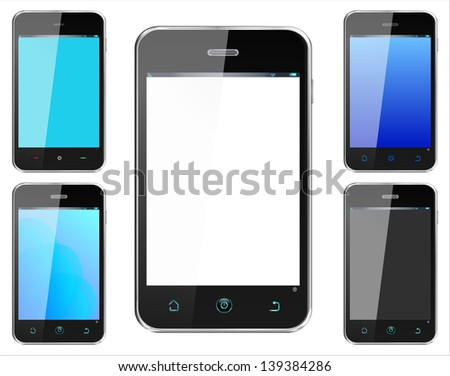 Realistic smartphone cellphone in alternate colors iphone style -  named layers and with a separate layer on main phone screen to easily add your own image - stock vector