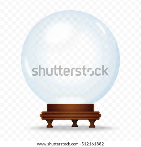 Realistic Snow sphere globe isolated on the transperant background. Magic crystal glass ball. Christmas snow globe