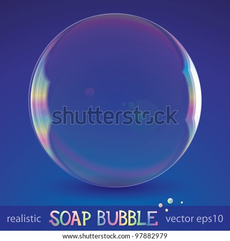 realistic soap bubble on blue background, vector eps 10