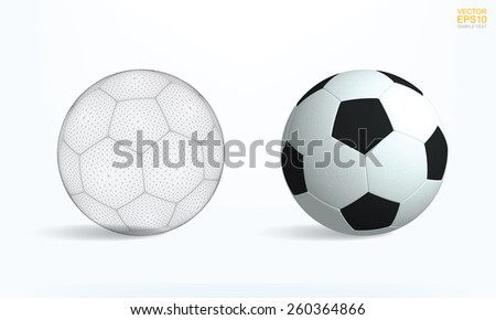 Realistic soccer ball and soccer ball wireframe on white background, Vector illustration. - stock vector