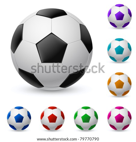 Realistic soccer ball in different colors. Illustration on white background - stock vector