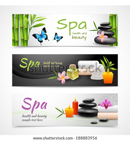 Realistic spa beauty health care banner set with stones towels candles isolated vector illustration - stock vector