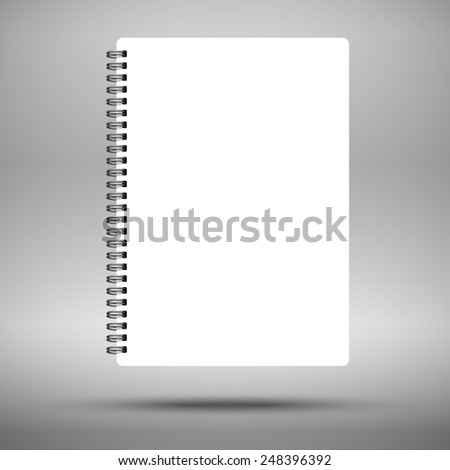 Realistic spiral vector blank notebook isolated on white - stock vector
