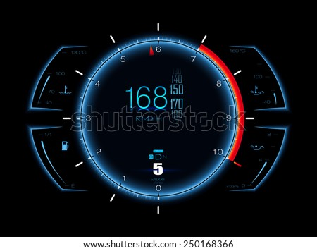 Realistic sport car vector speedometer. Dashboard lights. Speed concept. Speedometer vector illustration. Car HUD. Speedometer realistic HUD. Vector speedometer. Sports car speedometer. Speed concept
