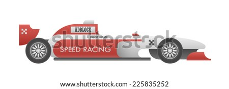 Realistic sport car with sample editable advertisements isolated on white. EPS10 vector illustration. - stock vector