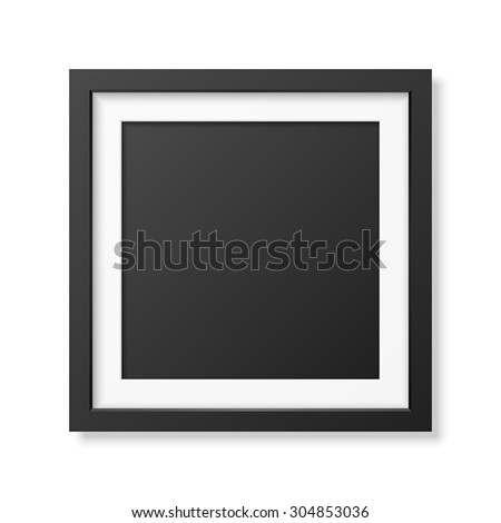 Realistic square black frame isolated on white. It can be used for presentations. Vector EPS10 illustration.