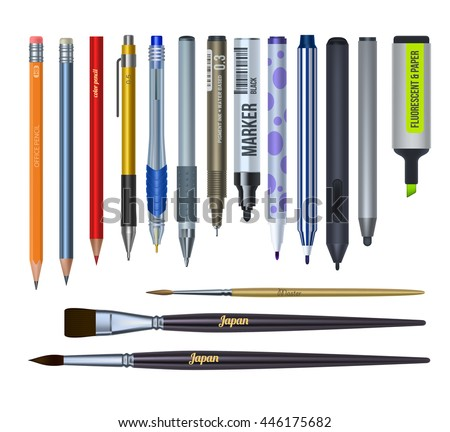 Realistic stationery and drawing tools. Isolated vector illustration set.