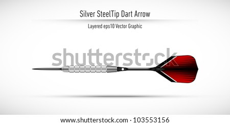 Realistic Steel Tip Dart Arrow | Eps10 Vector Background | Layers Organized and Named - stock vector