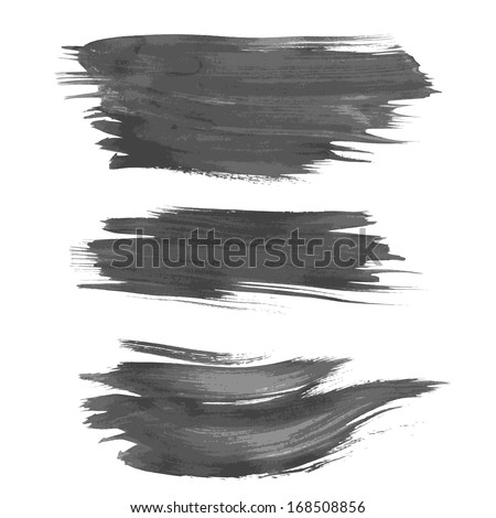 Realistic strokes painted wet paint on paper. vector - stock vector