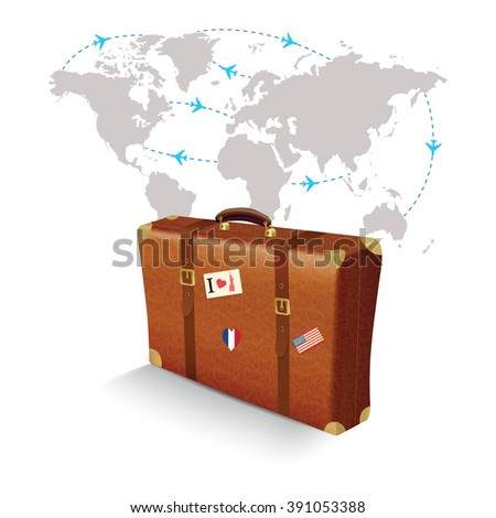 Realistic suitcase travel stickers on world stock vector 2018 realistic suitcase with travel stickers on world map gumiabroncs Images