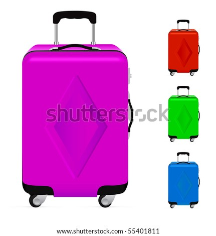 Realistic suitcases isolated on a white background. - stock vector