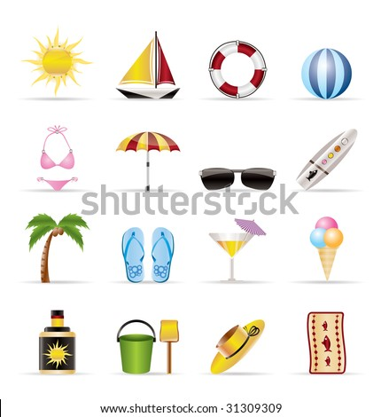 Realistic Summer and Holiday Icons - Vector Icon Set - stock vector