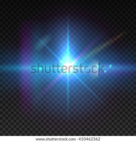 Realistic sun burst with flare. Lens flare illustration isolated on transparent grid. - stock vector