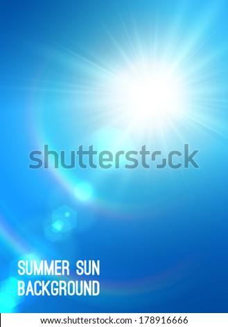 Realistic sun burst with flare. Vector illustration. - stock vector