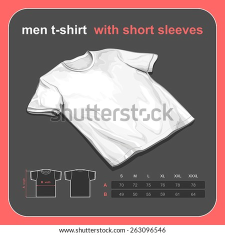 Realistic t-shirt mockup with size chart - stock vector