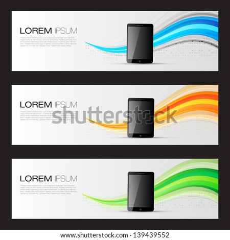 Realistic Tablet PC Computer Promotion Banners | Website Headers Template | EPS10 Editable Vector Design