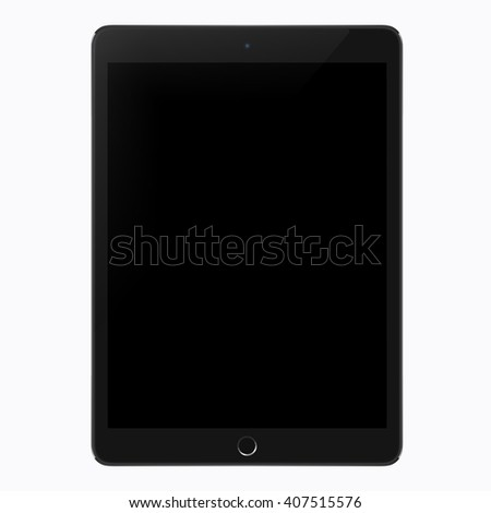Realistic tablet pc computer vector illustration. Tablet mockup with blank screen isolated on white background - stock vector