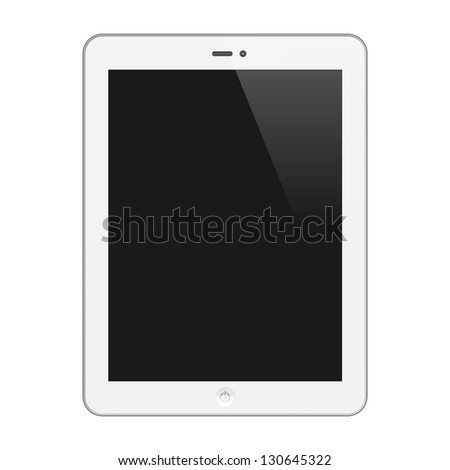 Realistic Tablet PC With Blank Screen. Vertical, White. Isolated On White Background. Vector Illustration - stock vector