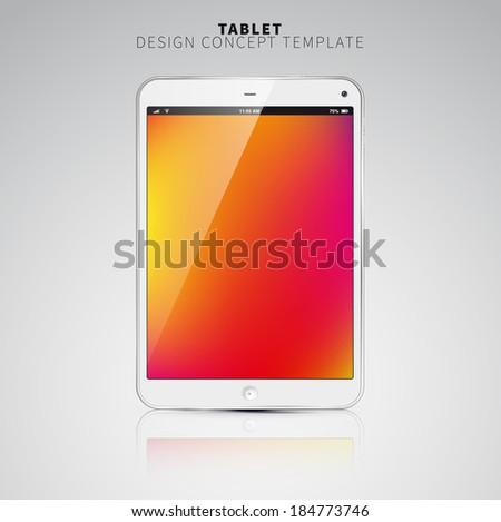 Realistic Tablet PC With color Screen. Vertical, White. On colorful Background. Vector Illustration - stock vector