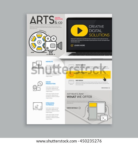 Realistic template for magazine, flyer, brochure design with realistic photo background and concept icons set. - stock vector