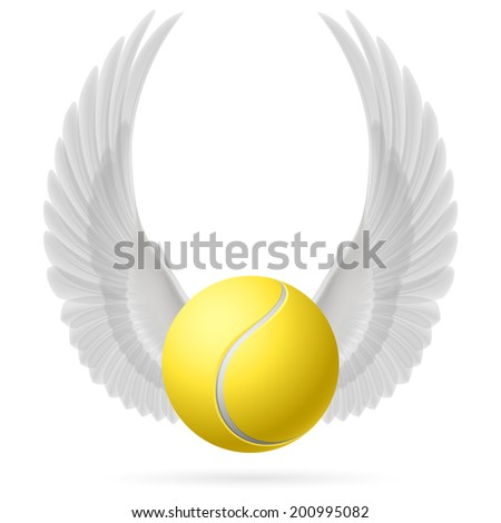 Realistic tennis ball with raised up white wings emblem - stock vector