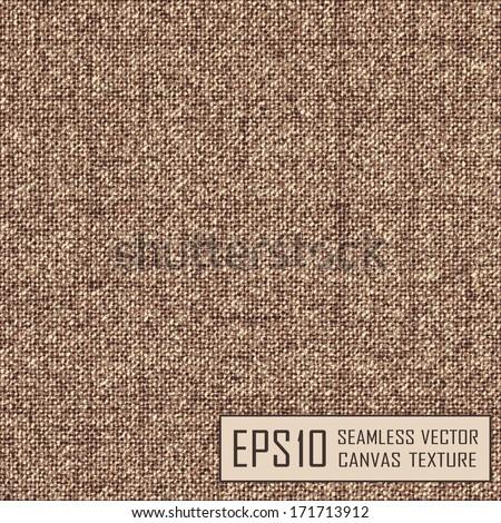 Realistic texture of burlap, canvas. Beige, brown. - stock vector