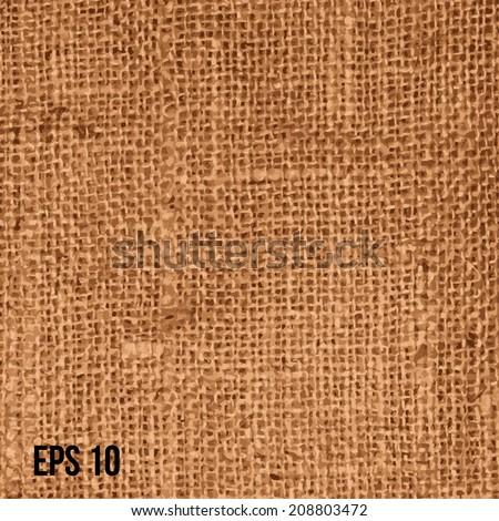 Realistic texture of burlap, canvas. Beige, brown. vector - stock vector