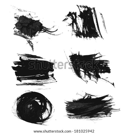 Realistic thick smears of black paint - stock vector