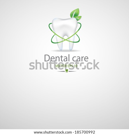 Realistic tooth. Dental care background.Green colours. - stock vector