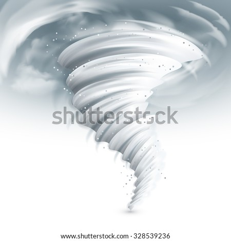 Realistic tornado swirl with dark clouds in sky vector illustration - stock vector