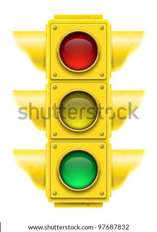 Realistic traffic light. Vector illustration. - stock vector