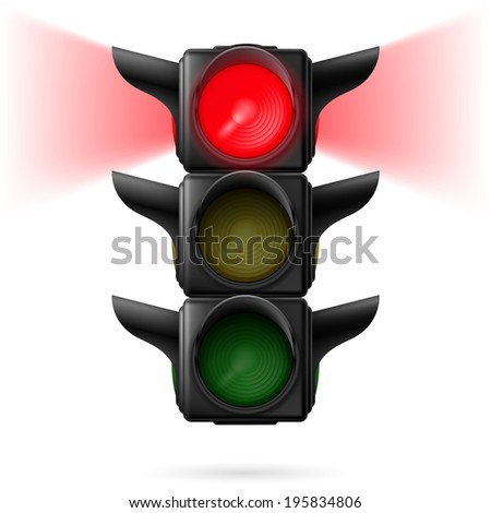Realistic traffic lights with red color on and sidelight.